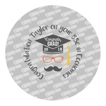 Hipster Graduate Round Decal (Personalized)