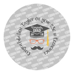 Hipster Graduate Round Decal - Medium (Personalized)