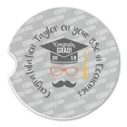 Hipster Graduate Sandstone Car Coasters (Personalized)