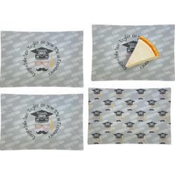 Hipster Graduate Set of 4 Glass Rectangular Appetizer / Dessert Plate (Personalized)