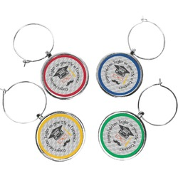 Hipster Graduate Wine Charms (Set of 4) (Personalized)