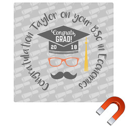 Hipster Graduate Square Car Magnet (Personalized)