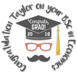 Hipster Graduate Graphic Decal - Custom Sized (Personalized)