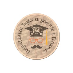 Hipster Graduate Genuine Maple or Cherry Wood Sticker (Personalized)
