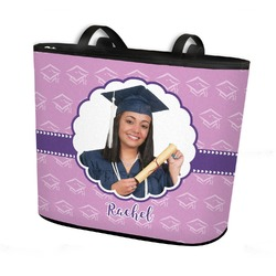 Graduation Bucket Tote w/ Genuine Leather Trim (Personalized)