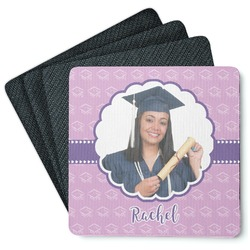 Graduation 4 Square Coasters - Rubber Backed (Personalized)