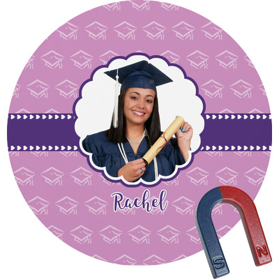 Graduation Round Fridge Magnet (Personalized)