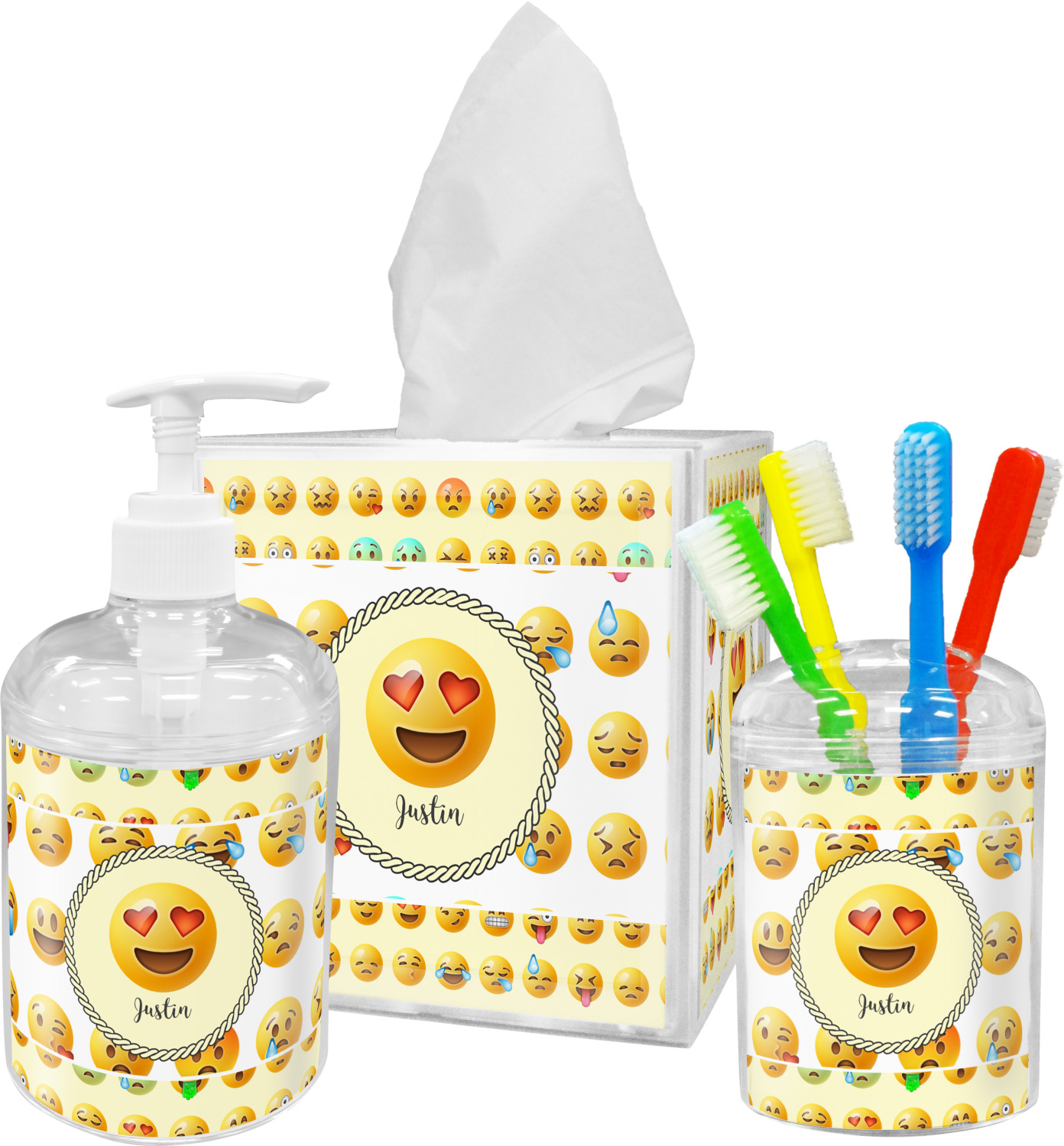 Emojis toothbrush holder personalized youcustomizeit for Bathroom accessories names with pictures