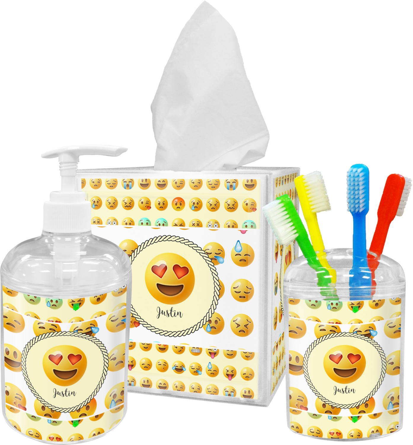 Emojis bathroom accessories set personalized - Monogrammed bathroom accessories ...