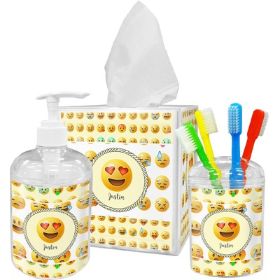 Emojis Acrylic Bathroom Accessories Set w/ Name or Text