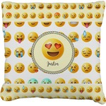 Emojis Faux-Linen Throw Pillow (Personalized)