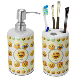 Emojis Ceramic Bathroom Accessories Set (Personalized)