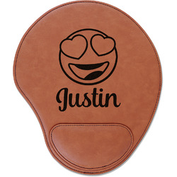 Emojis Leatherette Mouse Pad with Wrist Support (Personalized)