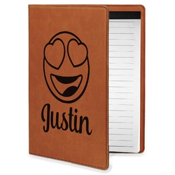 Emojis Leatherette Portfolio with Notepad - Small - Single Sided (Personalized)