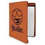 Emojis Leatherette Zipper Portfolio with Notepad (Personalized)