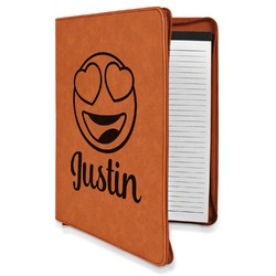 Emojis Leatherette Zipper Portfolio with Notepad (Personalized)