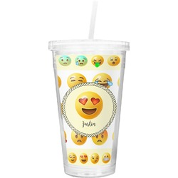 Emojis Double Wall Tumbler with Straw (Personalized)