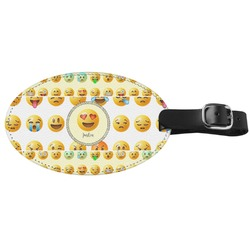 Emojis Genuine Leather Oval Luggage Tag (Personalized)