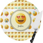 Emojis Round Glass Cutting Board (Personalized)