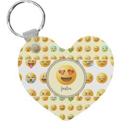 Emojis Heart Plastic Keychain w/ Name or Text