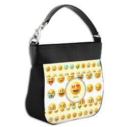 Emojis Hobo Purse w/ Genuine Leather Trim (Personalized)