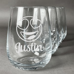 Emojis Stemless Wine Glasses (Set of 4) (Personalized)