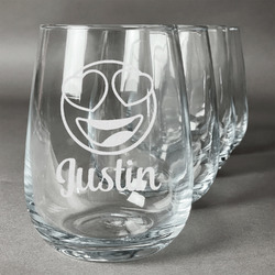Emojis Wine Glasses (Stemless- Set of 4) (Personalized)