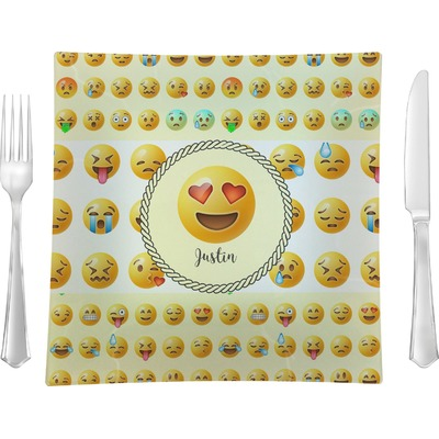 """Emojis 9.5"""" Glass Square Lunch / Dinner Plate- Single or Set of 4 (Personalized)"""
