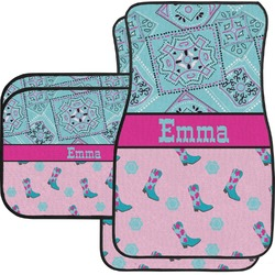 Cowgirl Car Floor Mats Set - 2 Front & 2 Back (Personalized)