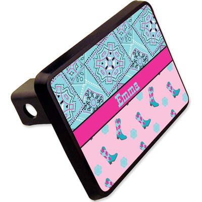 """Cowgirl Rectangular Trailer Hitch Cover - 2"""" (Personalized)"""