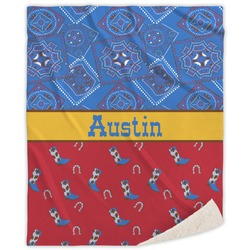 Cowboy Sherpa Throw Blanket (Personalized)