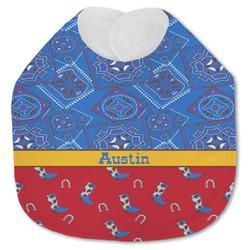 Cowboy Jersey Knit Baby Bib w/ Name or Text