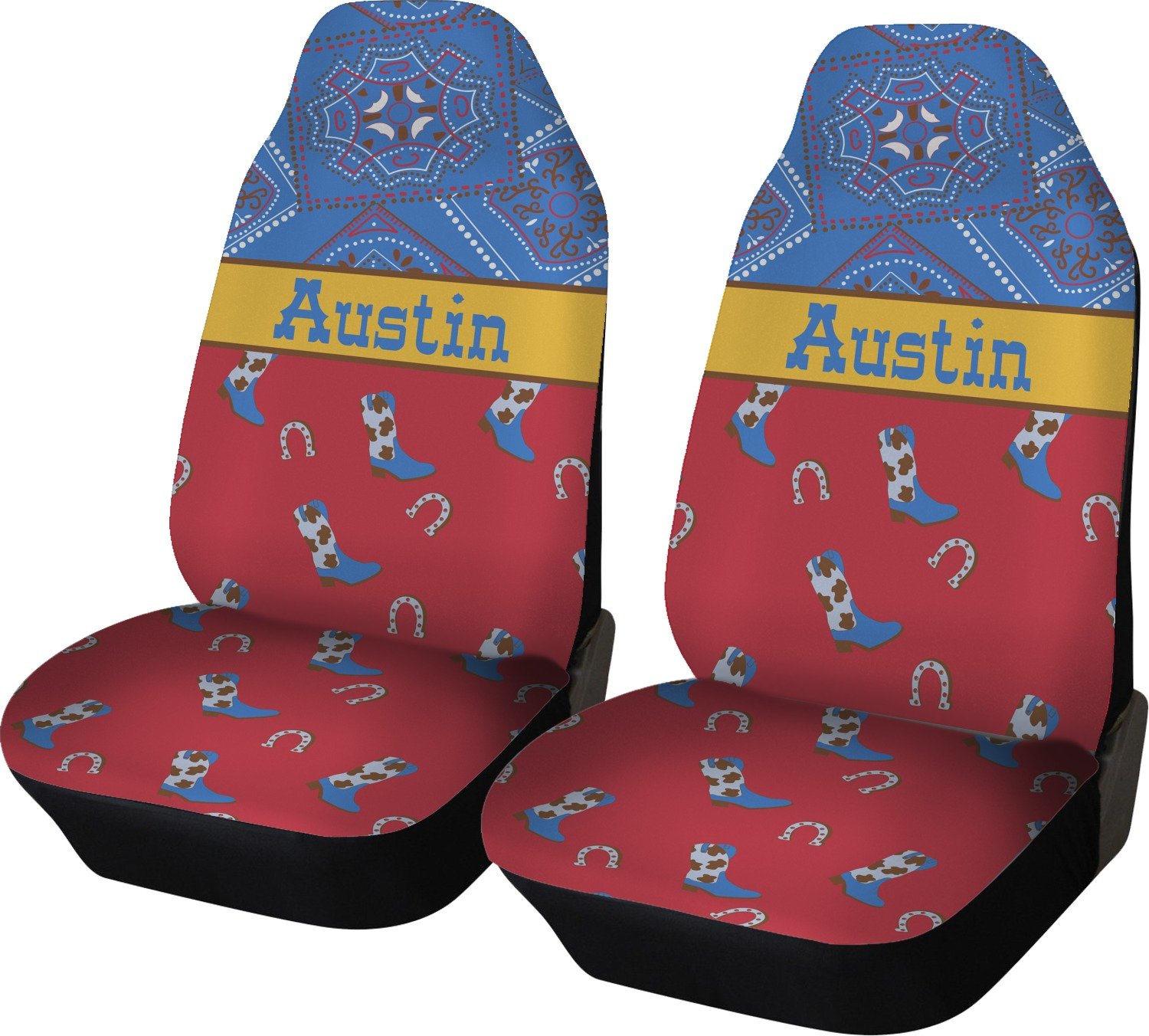 Pleasing Cowboy Car Seat Covers Set Of Two Personalized Alphanode Cool Chair Designs And Ideas Alphanodeonline