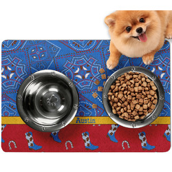 Cowboy Dog Food Mat - Small w/ Name or Text
