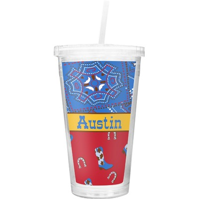 Cowboy Double Wall Tumbler with Straw (Personalized)