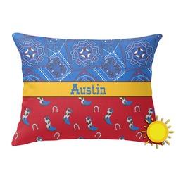 Cowboy Outdoor Throw Pillow (Rectangular) (Personalized)