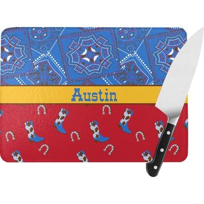 Cowboy Rectangular Glass Cutting Board (Personalized)