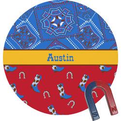 Cowboy Round Fridge Magnet (Personalized)