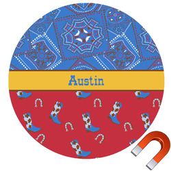 Cowboy Round Car Magnet (Personalized)