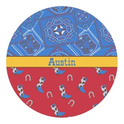 Cowboy Round Decal - Custom Size (Personalized)