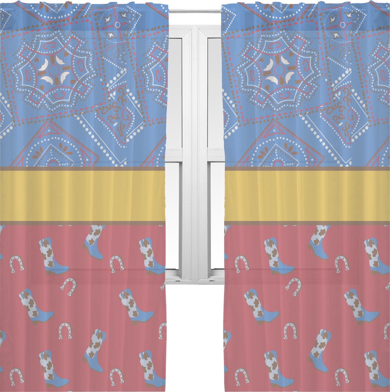 Cowboy Sheer Curtains Personalized