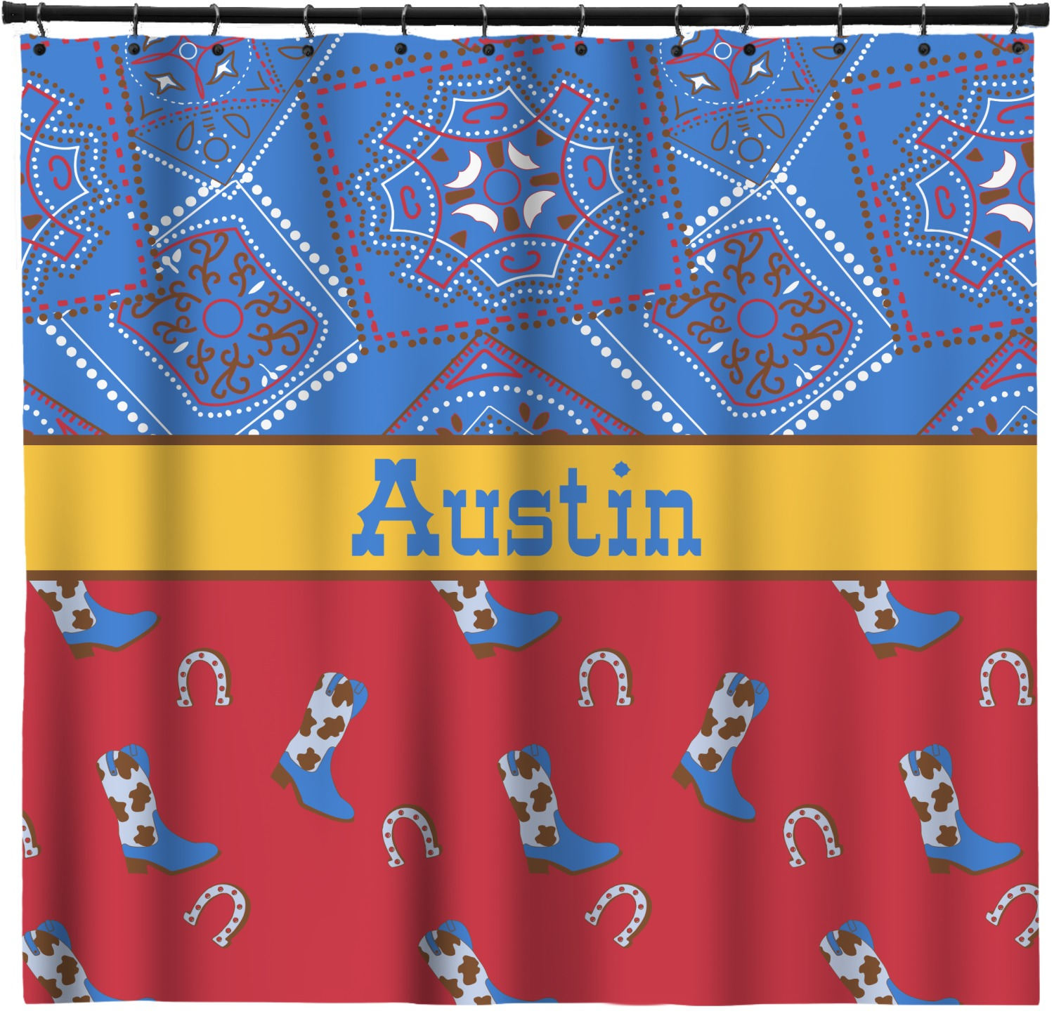 Cowboy Shower Curtain Personalized Youcustomizeit