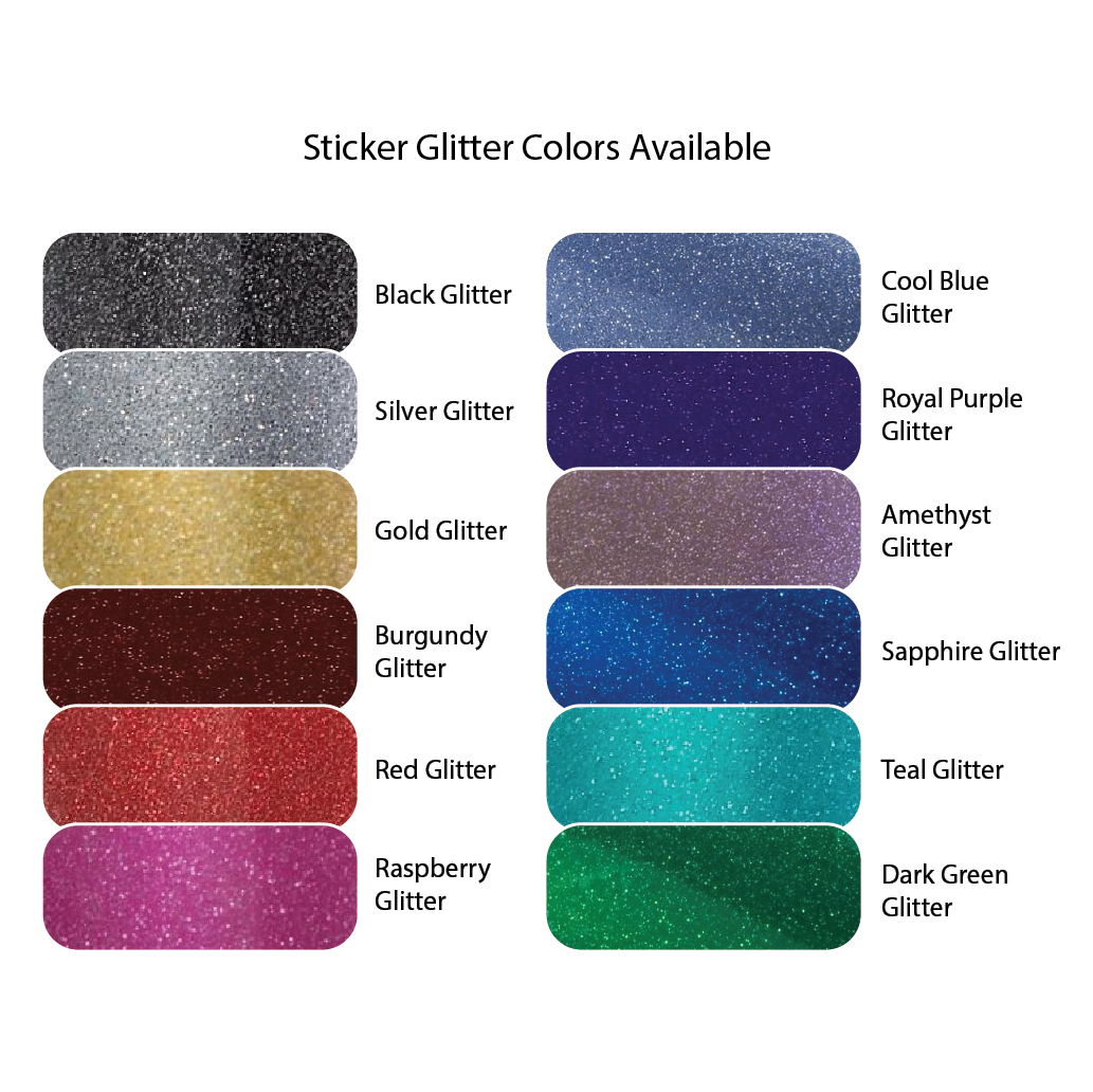 Design your own personalized glitter sticker decal custom sized