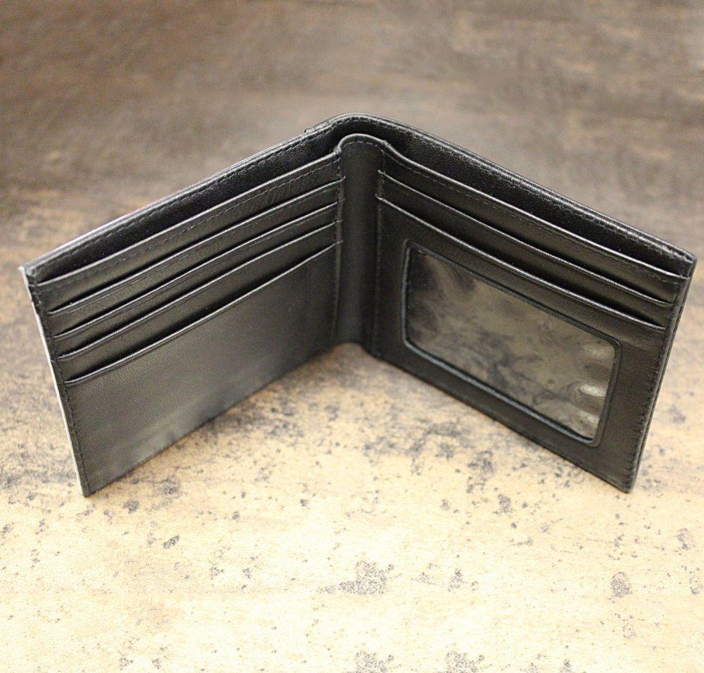 Boys Space /& Geometric Print Genuine Leather Mens Bi-fold Wallet Personalized