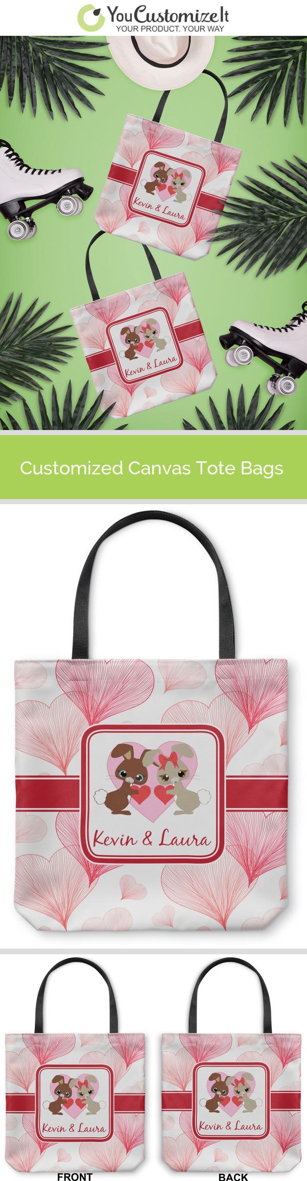 YouCustomizeIt Hearts /& Bunnies Duffel Bag Personalized