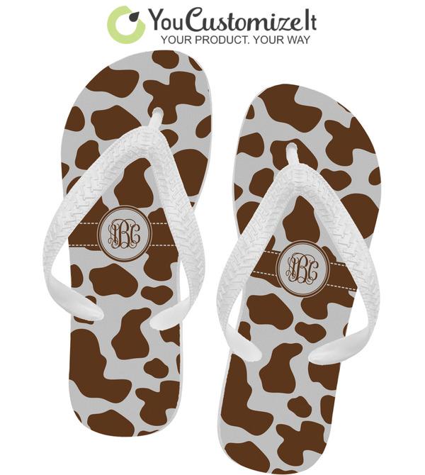 4cb1ca15193e Cow Print Flip Flops (Personalized) - YouCustomizeIt