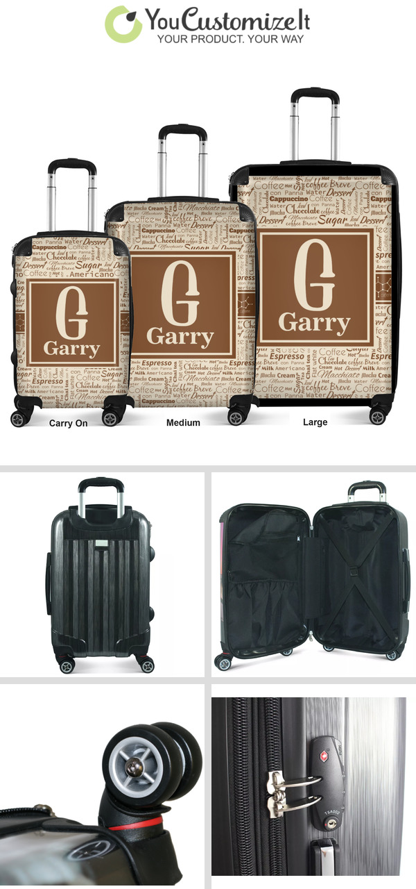 Checked Personalized Coffee Lover Suitcase 24Medium