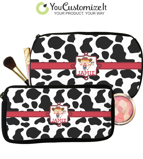 ff52ec2c4bd2 Cowprint Cowgirl Makeup / Cosmetic Bag (Personalized)