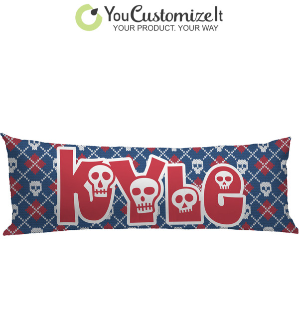 Knitted Argyle Skulls Body Pillow Case Personalized Youcustomizeit