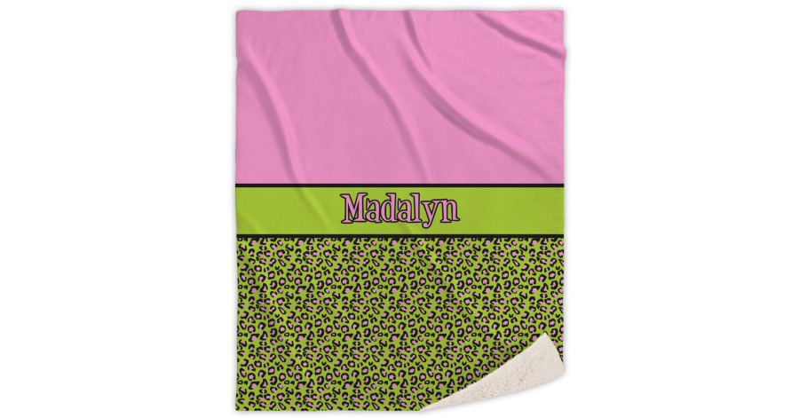 pink lime green leopard sherpa throw blanket 60 x80 personalized youcustomizeit. Black Bedroom Furniture Sets. Home Design Ideas
